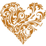 image of a gold filligree heart