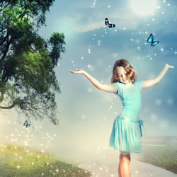 Image of a Young Girl Surrounded by Butterflies and Sparkles